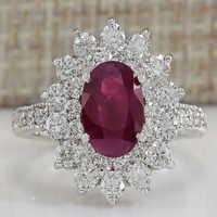 Anillos de piedra roja para Mujer joyería de moda anillo de flores accesorios para damas anillo Bague Mujer Anillos Mujer al por mayor F5K096