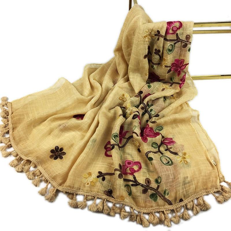 Retro Fringed Floral Embroidery Scarves Shawl Wrap Cotton Islam Women Muslim Hijabs Turban Headscarf Pashmina Bandana 90*180cm