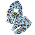 2016 Nova 2-8A crianças encapuzados conjuntos de roupas primavera outono conjuntos de roupas meninas com gato estilo zipper moda define para as meninas