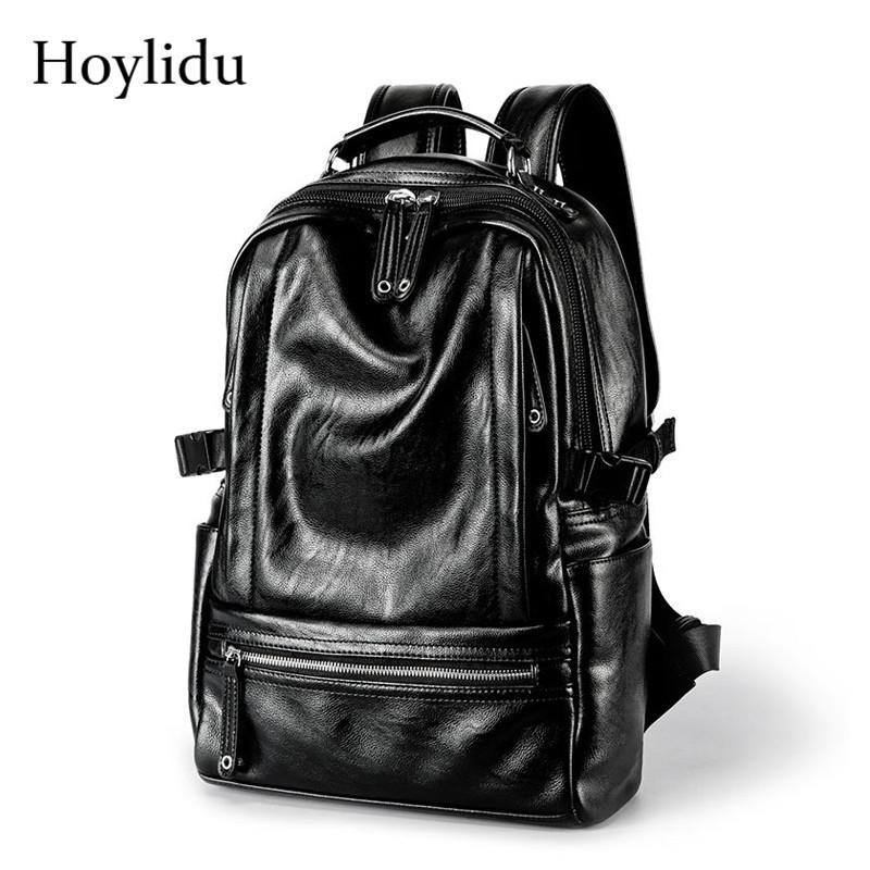 Waterproof PU Leather Backpack Men Shoulder Bags Large Capacity Casual Travel Laptop Backpacks Students School Bag For Teenager