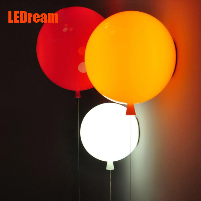 Novelty Colorful Balloon Wall lamps Modern Children bedroom Bedside wall Lights with pull switch Acrylic shade