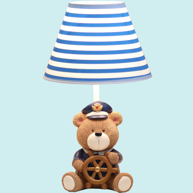 Cartoon Resin Bear Captain Bedside Lights Creative Fashion Nightlight Girl Boy Study Room Table Lamp Bedroom Table Light TL138 creative cartoon ceiling lamp smd led electrodeless dimmable air plane shape light study children boy girl room bedroom