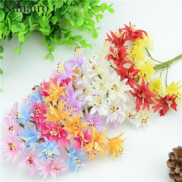 6pcs/lot Mini Silk Artificial Orchid Flowers Bouquet Wedding ...