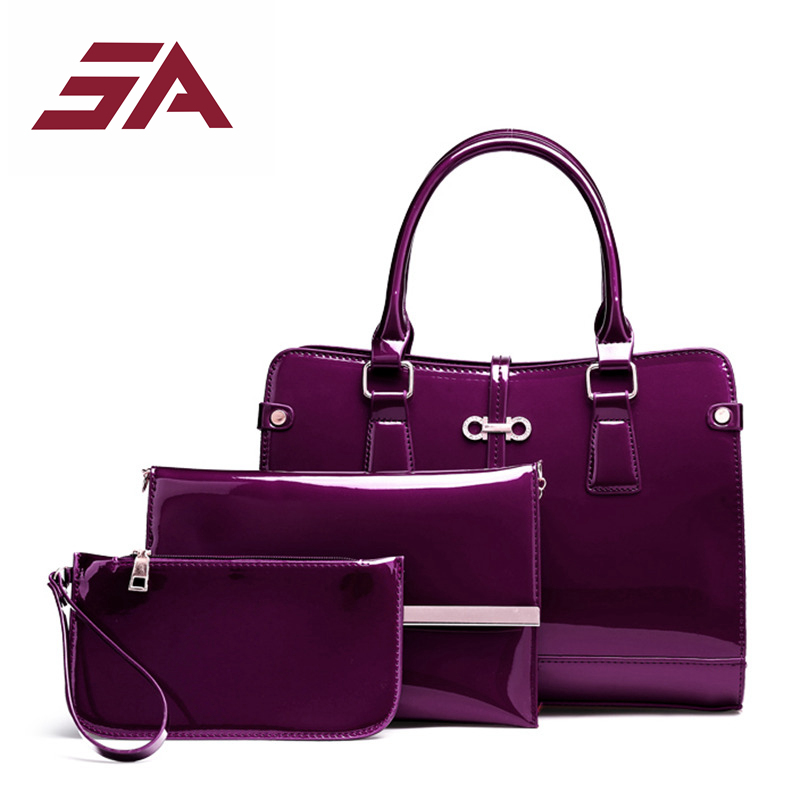 SA Women Composite Bag 3 pcs/set Luxury Patent Leather Purse and Handbags Famous Brands Designer Handbag Female Shoulder Bag sac purse and handbag 2017 patent leather bag composite luxury handbag women bag designer shoulder bag sac a main femme de marque