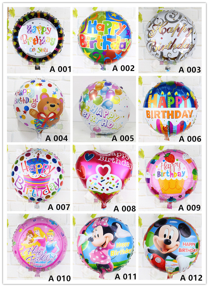 Mix! 50pcs/lot  air balls batch happy birthday balloon aluminium foil balloons for kid birthday party decoration