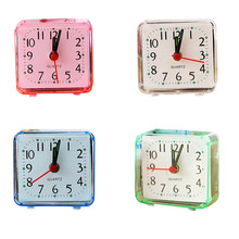Square Small Bed Alarm Clock Transparent Case Compact Travel Clock Mini Mute Children Student Desk Watch 1pcs(China)