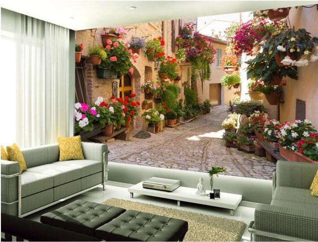 3d Wallpaper Custom Mural Non Woven 3 D Room Wallpaper Garden Lane Sofa  Setting Wall