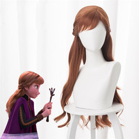 2019 New Anime Princess Anna Cosplay Wig 70cm Long Curly Wavy Heat Resistant Synthetic Hair Brown Braided Women Party Wig