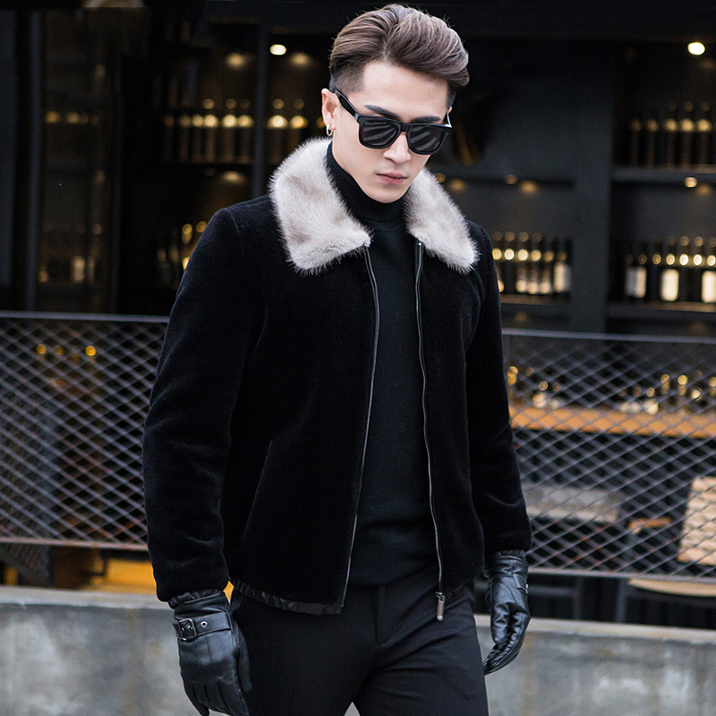Real Sheepskin Leather Jacket For Men Short Black Wool Coat Plus Size 4XL Natural Mnnk Fur Collar Outwear jaquetas de couro 319