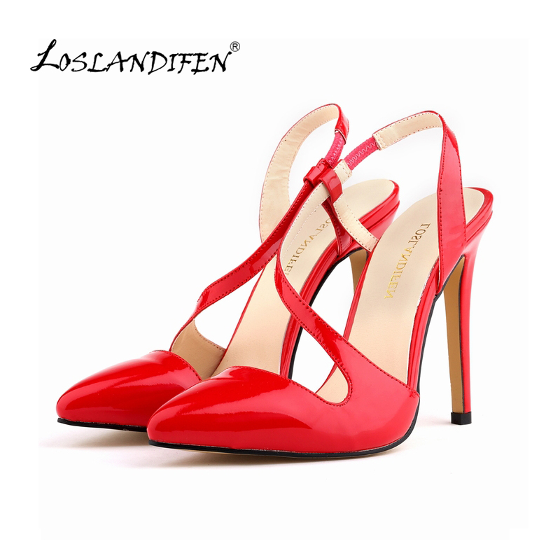 LOSLANDIFEN New Women Pumps Pointed Toe Stiletto High Heels Shoes Sexy Summer Autumn Ladies Red Wedding Leather Shoes 302-15PA sexy pointed toe high heels women pumps shoes new spring brand design ladies wedding shoes summer dress pumps size 35 42 302 1pa