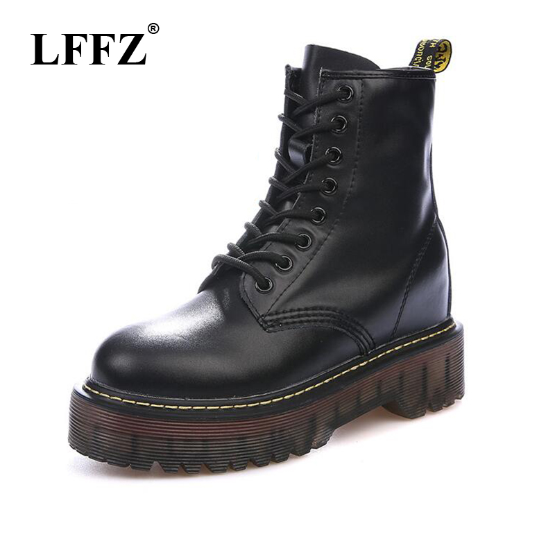 Size 35-40 Chunky Motorcycle Boots Women Autumn Height Increasing Fashion Leather Dr Chic  Boots Ladies Shoes ST326