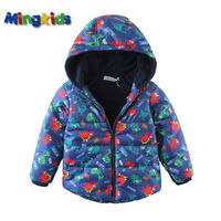 Mingkids High Quality Spring Autumn Warm Winter Jacket For Boys Waterproof Windproof Fleece Lining Outdoor Dinosaurs