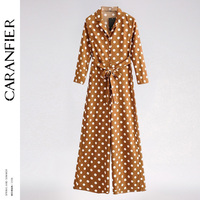 CARANFIER New Long Jumpsuit Overalls for Women 2018 High Fashion Long Sleeve Dots Vintage Lady Chiffon Elegant Siamese Trousers