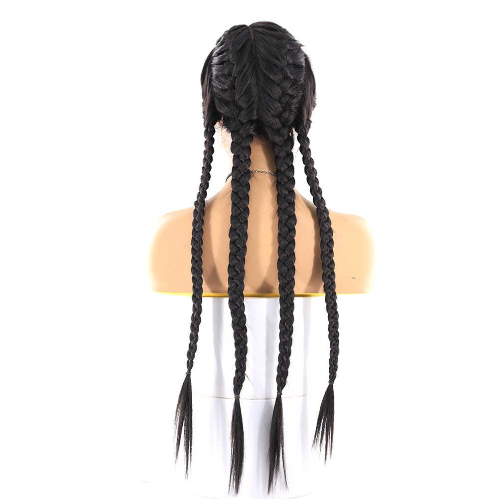Perucas trançadas longas da parte dianteira do laço sintético para as mulheres pretas soku natural cor preta peruca trançada dianteira do laço 26 Polegada l parte peruca na moda