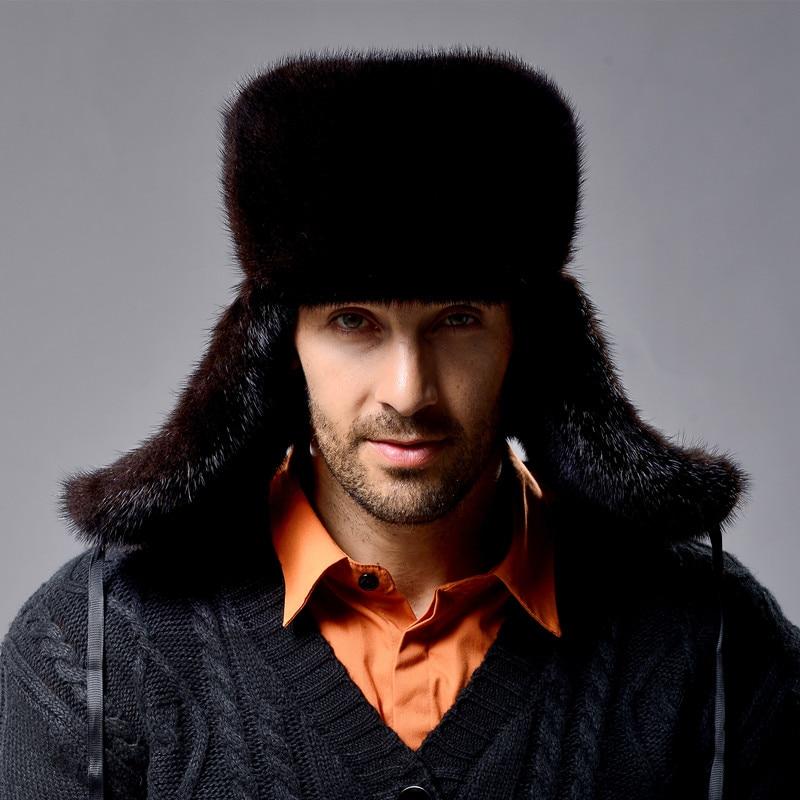 New men's genuine mink fur trapper hat genuine leather trapper hat winter mink bomber hat Men fur hat outdoor casual