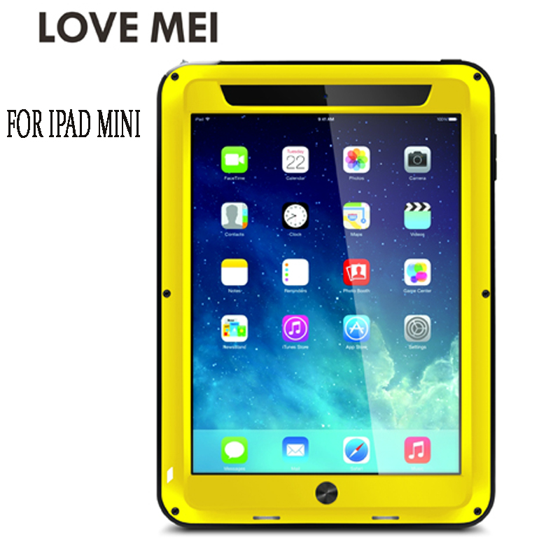 Love Mei Armor Cover Waterproof Case for iPad Mini 1 2 3 4 Retina Fundas Shell Housing Water/Dirt/Shock/Rain Proof for iPad Mini titanium tc4 armor oil lighter case shell cover custom chocolate surface 1 8mm thick ti material customized mark available