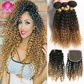 8а Перуанской Странный Вьющиеся Ombre Weave 4 Шт. С Закрытием Virgin Перуанские Вьющиеся Волосы-Блондинка, Коричневый Ombre Человеческих Волос С закрытие