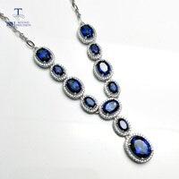 Tbj, изящные Цепочки и ожерелья для вечерние с натуральным покрытием синий топаз gemstone Fine Jewelry в 925 серебро с подарочной коробке