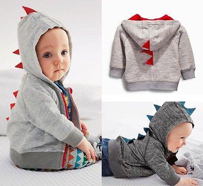 2016 wholesale toddler baby boys cute cartoon dinosaur hooded jacket tops coat sweatshirt hoodie 0~3Y blusa sexi animal print