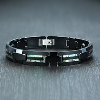 Stylish Magnetic Bracelets for Men with Shell china and Hematite Stones Link Chain Wrist pulseira masculina 20cm
