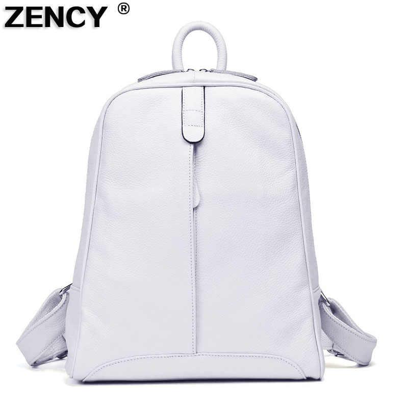 ZENCY 2019 женский 100% натуральная кожа воловья кожа черный белый серый бежевый рюкзак женская школьная сумка для подростков сумка