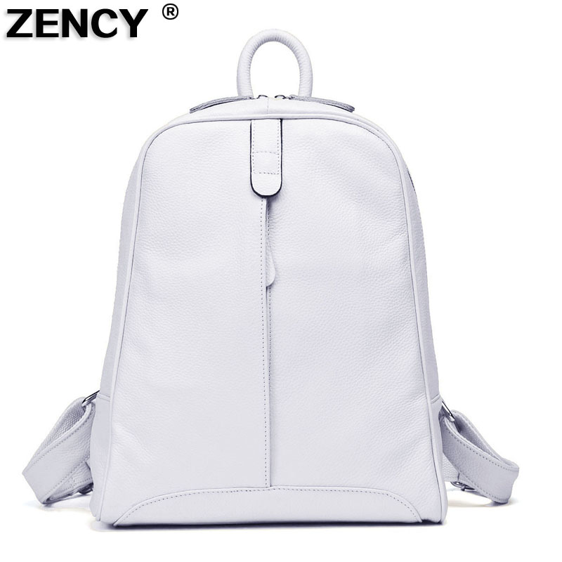ZENCY 9 Color Women 100% Genuine Real Cow Leather Real Cowhide Black White Gray Beige Backpacks Ladies's Schoolbag Teenagers Bag