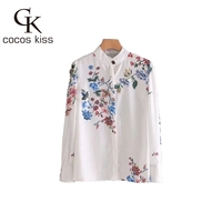 2018 New Fashion White Print Shirt Flower Gentle Spring Lady Causal High Street Blouses