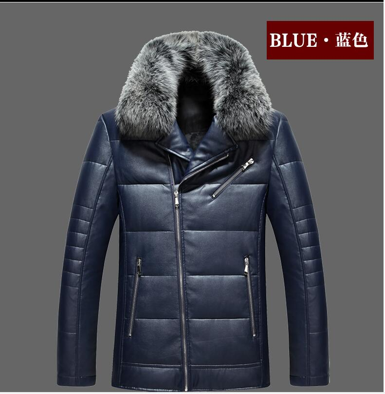 2017new arrival Factory direct sales leather luxury fur collar hihg quality male down jacket winter fashion coat size M-3XL 8810