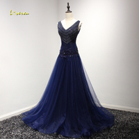Loverxu Luxury Beaded V Neck Lace Up Long Evening Dress 2017 Fashion Pleated Appliques Formal Party
