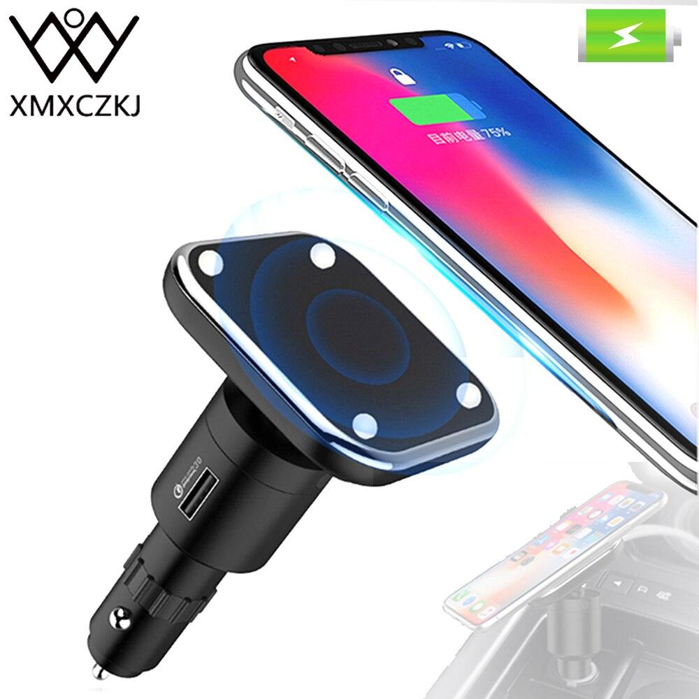 XMXCZKJ Qi Sans Fil De Charge allume-cigare Support de voiture Support Mobile Téléphone Support magnétique Stand Pour Iphone XS X Avec Chargeur