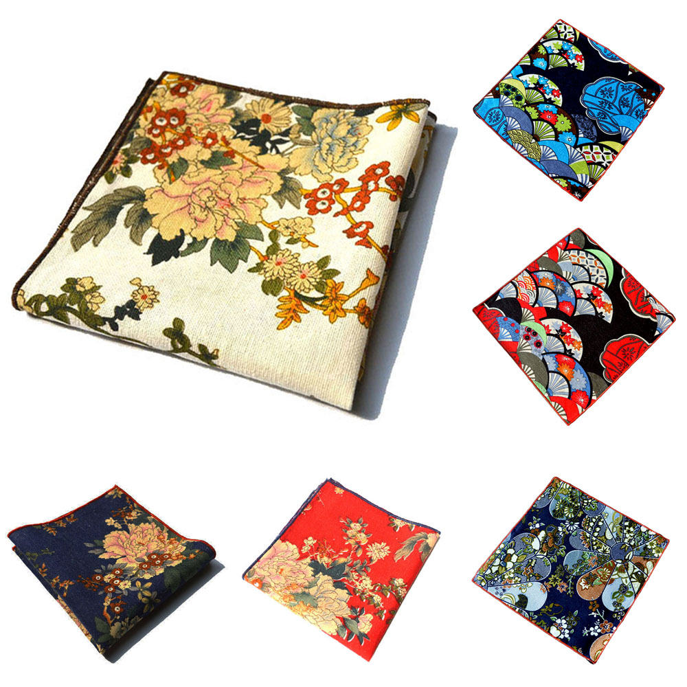 Men Stylish Flower Floral Pocket Square Cotton Hanky Wedding Party Handkerchief    BWTYX0174