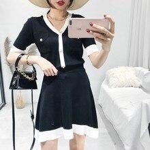 72cb141fe906 Sommer Mode Sets Arbeit Büro Anzüge Outwear 2 Stück Set Frauen gestrickten  Klage Perlen Hemd + Mini Rock Dame Anzug Frauen .