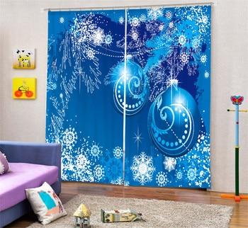 Modern Fashion Christmas tree Printing 3D Blackout Curtains For Bedding room Living room Hotel Drapes Cortinas Para Sala