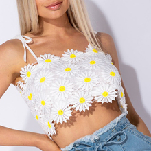 Sweet Sunflower Embroidered Spaghetti Strap Top Women White Lace Crop Top Camis  Girls Summer Vacation Mini Top brief embroidered spaghetti strap tank top for women