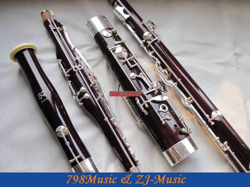 Maple Wooden Bassoon Silver Plated Key 2 Bocals Brand New With Case silver plated double french horn f bb 4 key brand new with case