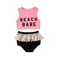 a6a1be8a6b3fc Nouveau-né Enfants Bébé Fille Sans Manches Top T-shirt + Glands Triangle  short Tenue Vêtements
