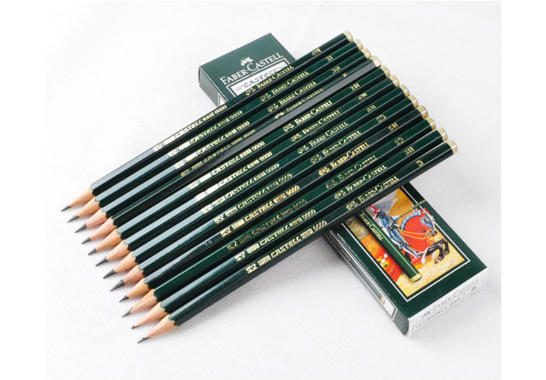 Faber castell faber castel 9000 pencil professional sketch green rod painting drawing pencil classic series 12 pcs/box scribble scribble pen faber castell 25 pieces of pencil sketch sketch article carbon combination 112969