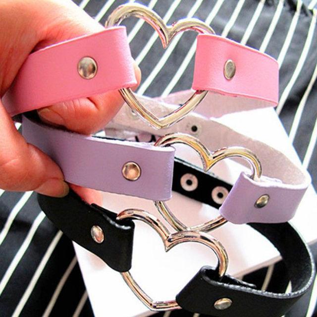 Punk CHIC Rivet Handmade Chain PU Leather  Heart Collar Choker