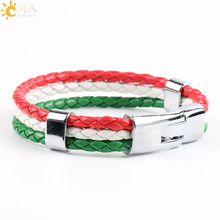 CSJA Spain Russia Canada Brazil France Flag Sports Wristband Men & Women PU Leather Braided Bracelets World Cup Jewellery P064(China)