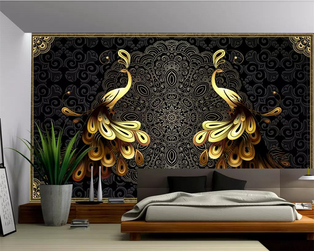 beibehang custom wallpaper 3d large mural wallpaper luxury european black gold peacock
