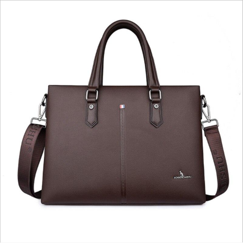 Men Business Leather Briefcase Shoulder Messenger Bag for 14