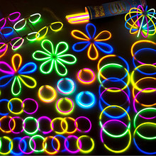 200pcs Party Toys Fluorescence Glowstick Bracelets Necklace Multi-Color Light Stick Halloween Non-Toxic Kids Funny Toys(China)