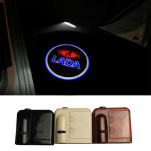 2X Universal Car Led Door Lights FOR lada Logo Led Car Logo Door Light For Lada No Drill Projector Car Logo Shadow Light