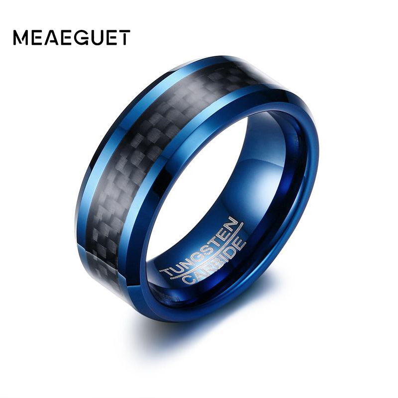 Meaeguet Trendy 8MM Blue Tungsten Carbide Ring For Men Jewelry Black Carbon Fiber Wedding Bands USA Size