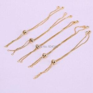 Image 3 - 20PCS Gold/Schwarz/Rose Gold/Silber Farbe Kette Armband Einstellbar Kette Macrame Armband Für DIY Frauen schmuck