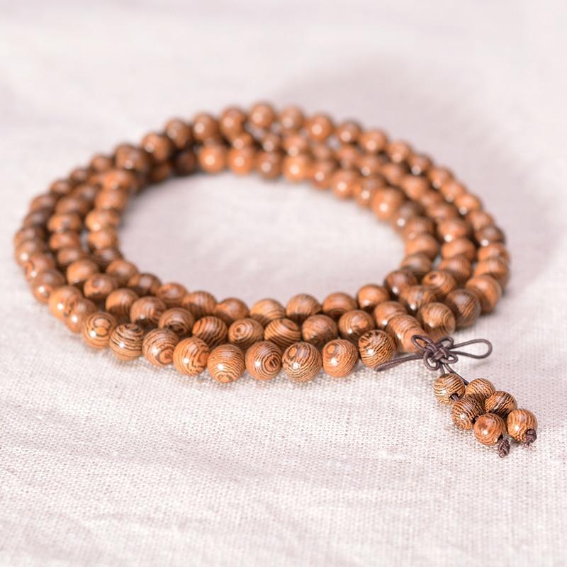 Prayer Beads Bracelet 108 Tibetan Buddhist Rosary Charm Mala Meditation Necklace Yoga lucky Wenge Wooden Bracelet For Women Men 3