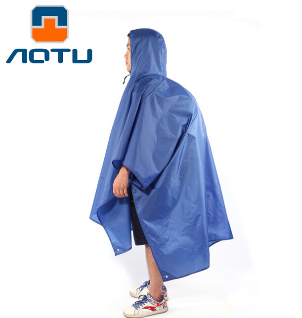 AOTU Outdoor Sports Hiking Camping Multi-function Raincoat Poncho Backpack Hood Ground Pad Mat Sunshade ...