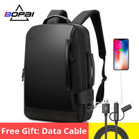 BOPAI Brand Enlarge Backpack USB External Charge 15.6 Inch Laptop Backpack Shoulders Men Anti theft Waterproof Travel Backpack