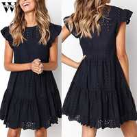 Womail dress Summer woman Casual Ruffles Sleeve Ladies O-Neck Hollow Out Ruched A-Line Dress party fashion Daily NEW 2019 A4