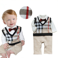 Retail 2017 100 Cotton Baby Boy Roupas Infant Critical Gentleman Bow Long Sleeve Baby Boy Clothes